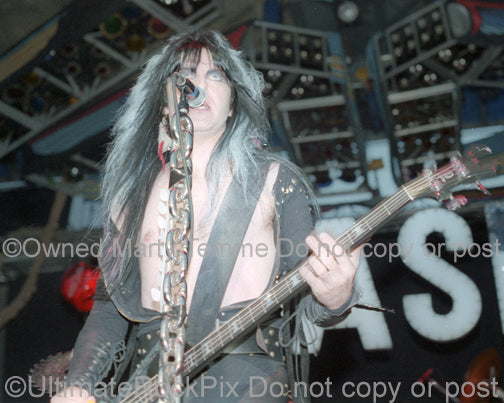 Photo of singer Blackie Lawless of W.A.S.P. in concert in 1985 by Marty Temme
