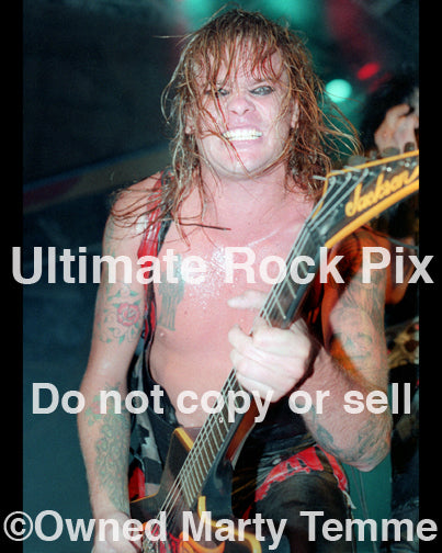Photo of Chris Holmes of W.A.S.P. in concert in 1985 by Marty Temme