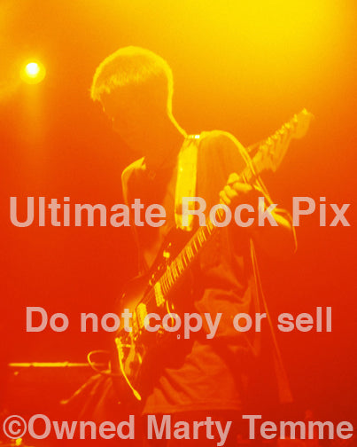 Art print of guitar player Nels Cline playing with Mike Watt in concert in 1995 by Marty Temme