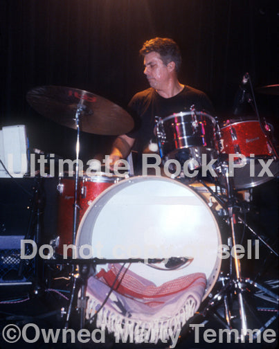 Photo of drummer Stephen Hodges of Mike Watt in concert in 1997 by Marty Temme