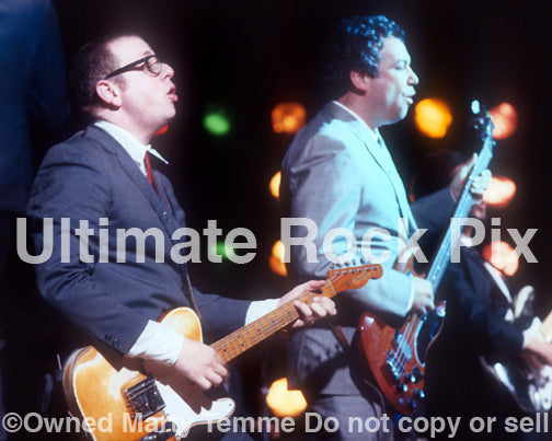 Photo of Mike Watt and Zander Schloss performing in 1995 by Marty Temme