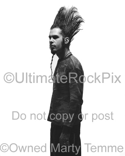Black and white photo of Wayne Static of Static-X during a photo shoot by Marty Temme