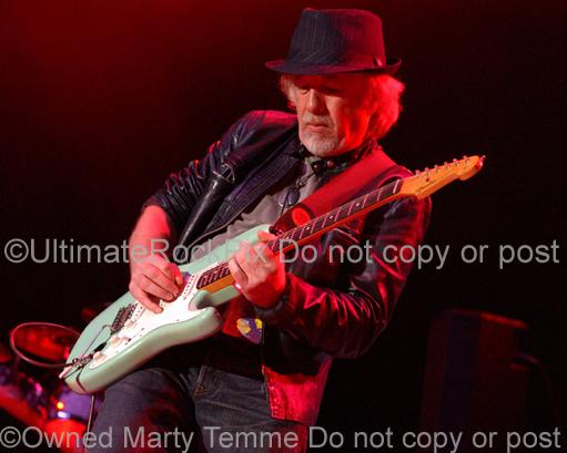 Photos of Guitarist Brad Whitford of Aerosmith Playing a Fender Strat in Concert in 2008 by Marty Temme