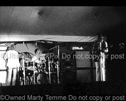 Photo of Pete Townshend, Roger Daltrey and Keith Moon of The Who in concert in 1971 by Marty Temme