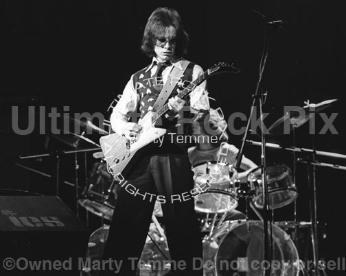 Photo of Robert A. Johnson performing with John Entwistle of The Who in 1974 - whojohngtr74bw2