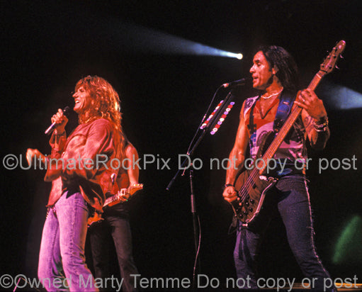 Photo of David Coverdale and Marco Mendoza of Whitesnake in concert by Marty Temme