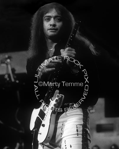 Black and white photo of Vito Bratta of White Lion in concert by Marty Temme