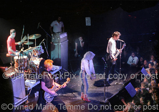 Photo of the punk rock band X in concert in 1981 by Marty Temme
