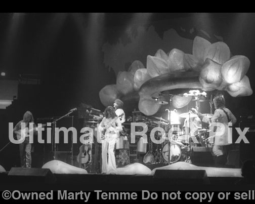 Photo of the progressive rock band Yes in concert in 1975 by Marty Temme