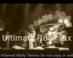 Sepia tint art print of the progressive rock band Yes in concert in 1975 by Marty Temme