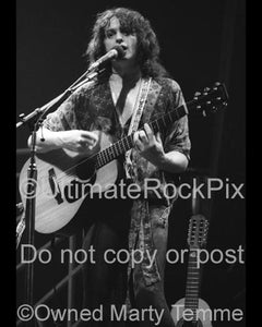 Black and White Photos of Singer Jon Anderson of Yes Performing Onstage in 1978 by Marty Temme