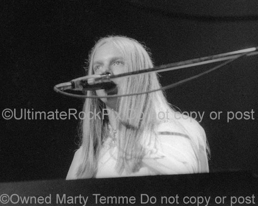 Photo of keyboard player Rick Wakeman of Yes performing onstage in 1974 by Marty Temme