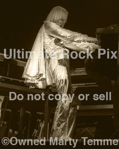 Sepia tint photo of Rick Wakeman of Yes in concert in 1978 by Marty Temme