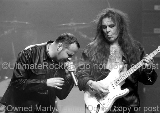 Black and white photo of Yngwie Malmsteen and Tim Ripper Owens in 2008 by Marty Temme