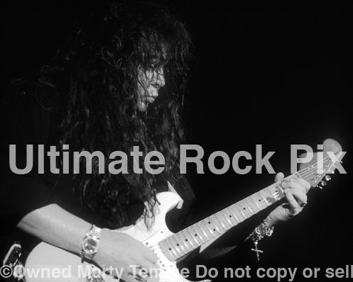 Black and white photo of Yngwie Malmsteen in concert in 1994 by Marty Temme