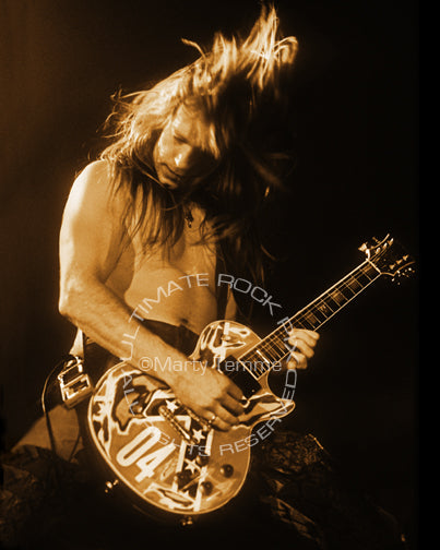 Art print of Zakk Wylde of Ozzy Osbourne in concert in 1991 by Marty Temme
