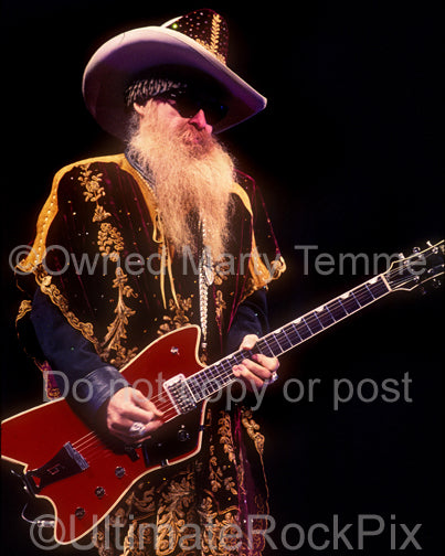 Photo of Billy Gibbons of ZZ Top playing a Billy-Bo Jupiter in concert by Marty Temme