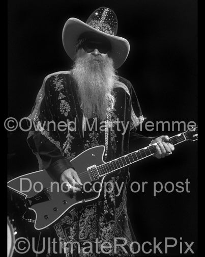 Photo of Billy Gibbons of ZZ Top playing a Gretsch Jupiter in concert by Marty Temme