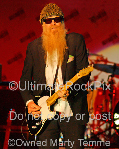 Photo of Billy Gibbons of ZZ Top playing a Fender Telecaster in concert in 2008 by Marty Temme