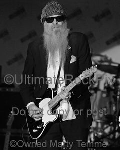 Black and white photo of Billy Gibbons of ZZ Top playing a Telecaster by Marty Temme