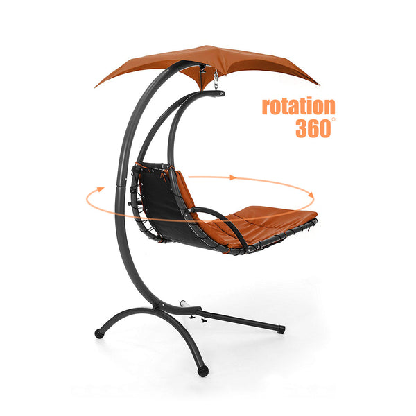Innovative 360° Rotating Swing Hammock Chair with Canopy Steel Frame Cushioned