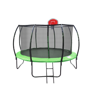 Jumbroo 10ft Fiberglass Round Trampoline With Kids Safe Enclosure Net Bundled Basketball Hoop