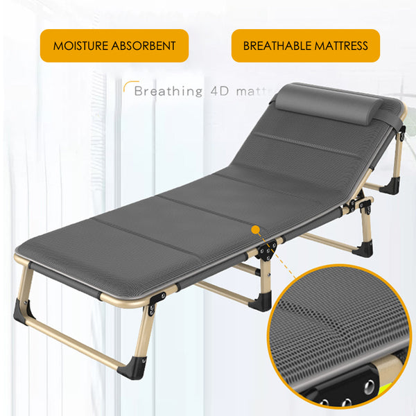Portable Folding Bed Comfortable Light Weight With Adjustable Head Rest