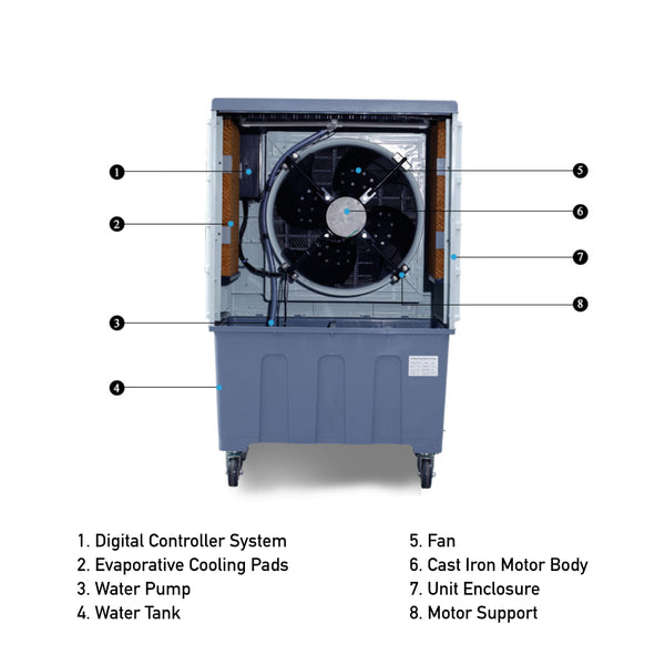 120L Industrial Grade Commercial Evaporative Air Cooler Indoor/Outdoor 54sqm Coverage