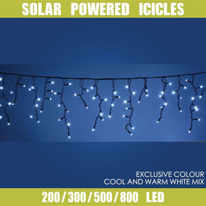 Solar Powered LED Icicle String Lights Christmas Decoration