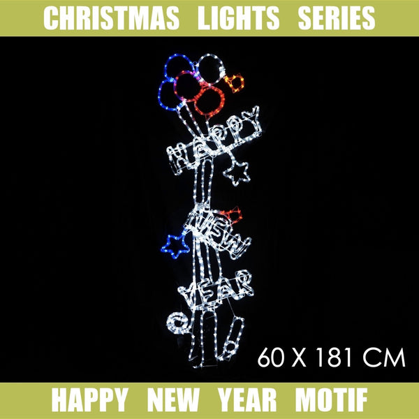 Christmas LED Motif Happy New Year 181cm Indoor Outdoor Display Sign