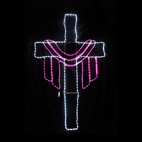 Christmas LED Motif Easter Jesus Cross 106x177cm Indoor/Outdoor Display Sign