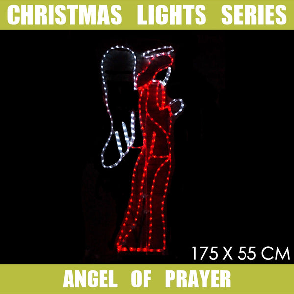 Christmas LED Motif Angel of Prayer 170x55cm Indoor Outdoor Display Sign