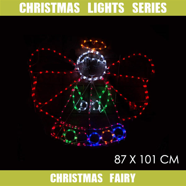Christmas LED Motif Christmas Fairy Angel 87x101cm Indoor Outdoor Display Sign