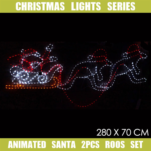 Christmas LED Motif Animated Santa & Roos 280x70cm Indoor Outdoor Display Sign