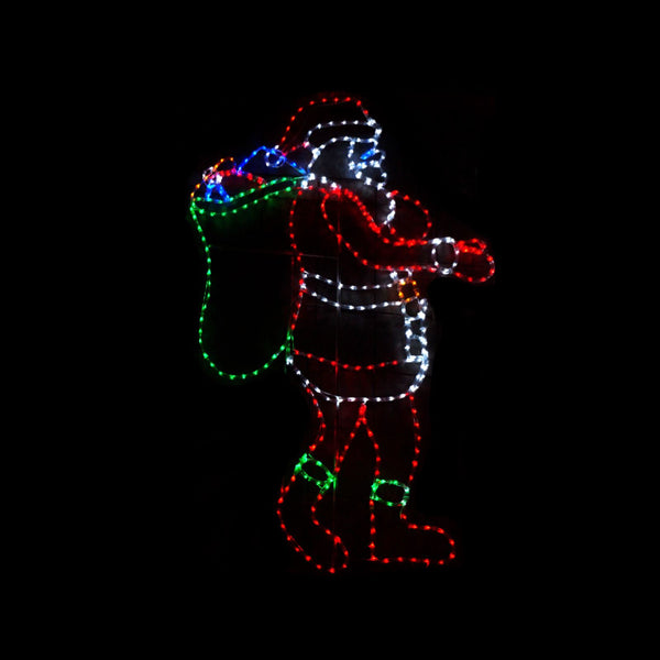 Christmas LED Motif Santa with Present Sack 160x130cm Indoor Outdoor Display Sign