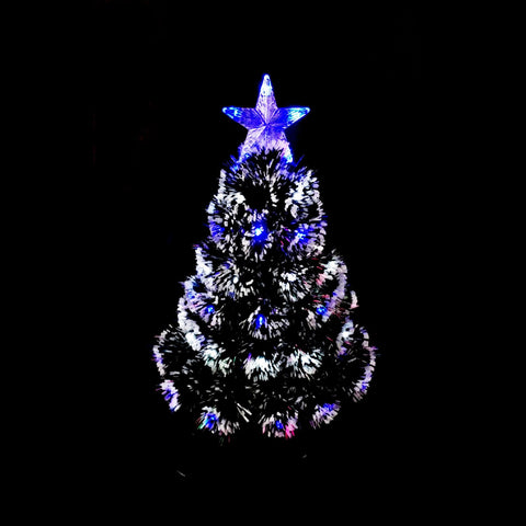 60cm Table Top Fibre Optic Tree Blue White Twinkle LED Light Christmas Tree Decor