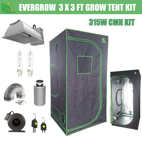 EverGrow Pro Series 3x3 ft CMH 315W Hydroponic Grow Tent Full Bundle Kit