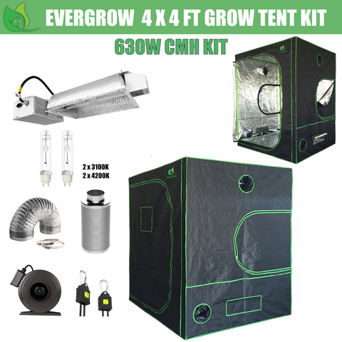EverGrow Pro Series 4x4 ft CMH 630W Hydroponic Grow Tent Full Bundle Kit