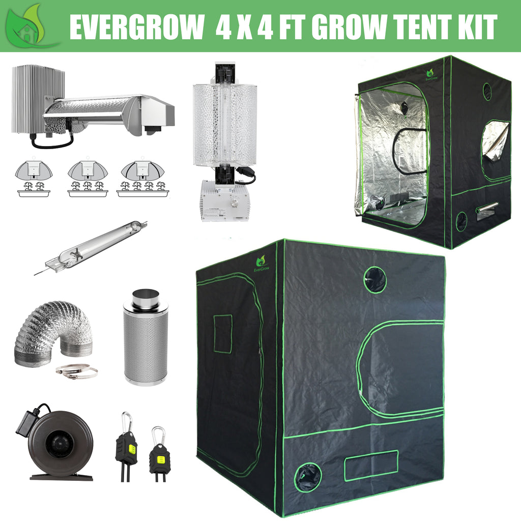 EverGrow Pro Series 4x4 ft (122x122x203 cm) Hydroponic Grow Tent Full Bundle Kit