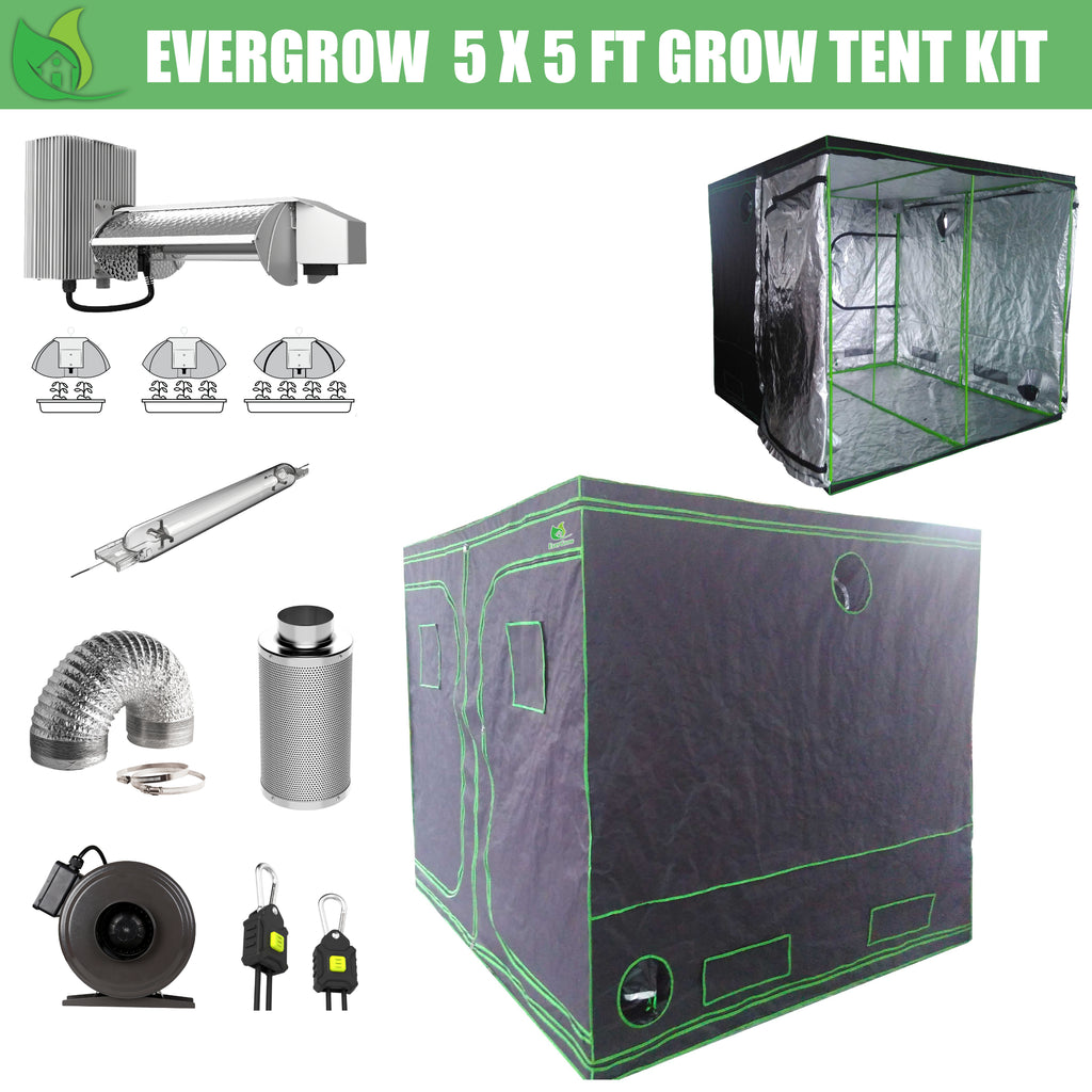 EverGrow Pro Series 5x5 ft (152x152x203 cm) Hydroponic Grow Tent Full Bundle Kit