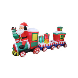 Inflatable 240cm Long Santa Riding Christmas Train LED Lit