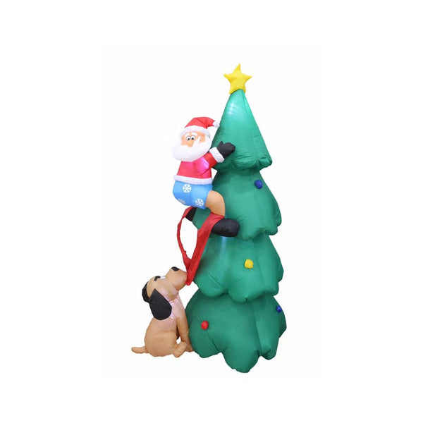 Inflatable 180cm Tall Christmas Tree Santa Chased by Dog LED Lit