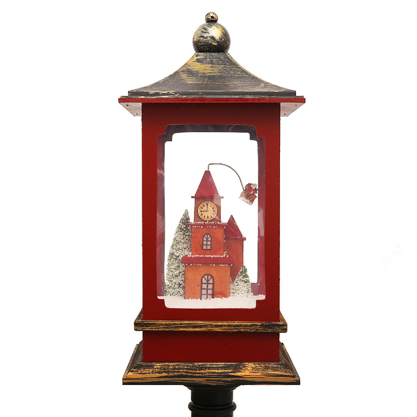 190cm Musical Snowy Christmas House Lantern On Lamp Post