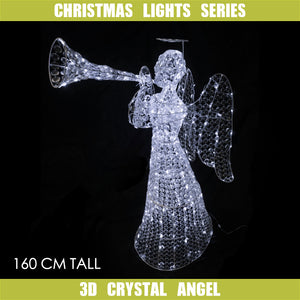 3D Crystal Angel 160cm Cool White LED Display Indoor/Outdoor