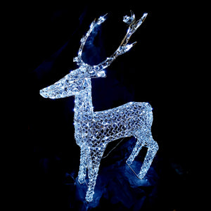 3D Crystal Standing Reindeer 133x107x24cm White LED Display Indoor/Outdoor