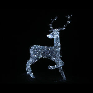 3D Crystal Standing Reindeer 126x90x53cm White LED Display Indoor/Outdoor
