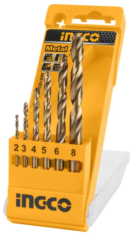 INGCO 6 Pcs Metal Drill Bits Set 2-6, 8mm