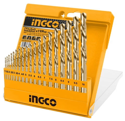 INGCO 19 Pcs HSS Twist Drill Bits Set 1-10mm
