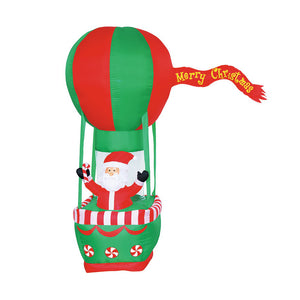 Inflatable 210cm Santa In Hot Air Balloon LED Lit