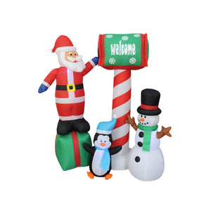 Inflatable 150cm North Pole With Santa Snowman Penguin LED Lit